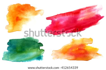 A set of watercolour design elements (yellow, red and green abstract stains) on white background - stock photo