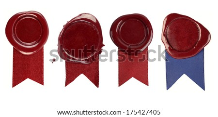 A set of wax seals with ribbons on a white background - stock photo