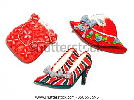 A set of woman accessories comprising handbag, shoe and hat.  - stock photo