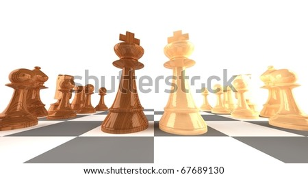A set of wooden chess pieces with focus on the king pieces facing off - stock photo