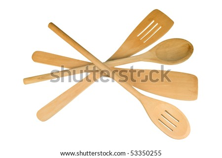 A set of 4 wooden cooking utensils isolated on white background.  Spoons and spatulas both slotted and solid. - stock photo