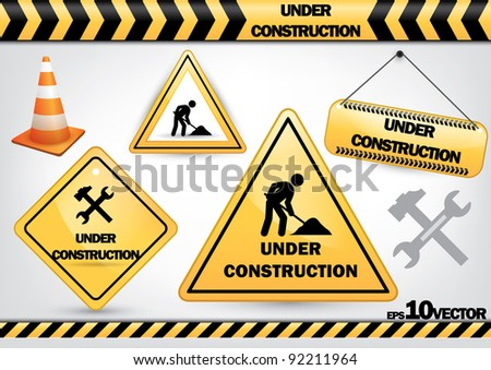 a set of work in progress symbols isolated on white background - Jpeg version of vector illustration - stock photo
