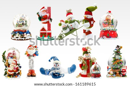 A set of X-mas presents including snowmen, santa and different snowballs. - stock photo