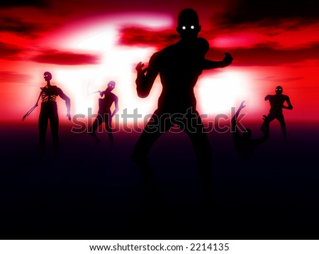A set of zombies emerging from the ground with a atmospheric background.