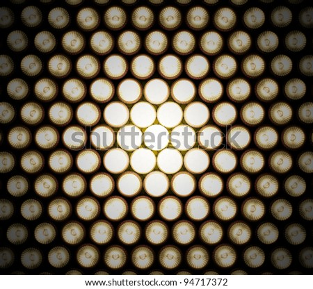 A Setting of light diodes, photographed at different stages of exposure to achieve this effect of detail in the light, that would be hidden otherwise - stock photo