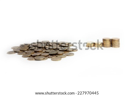 a several is a metallic ruble as part of the pay system - stock photo