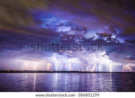 A severe lightning storm with power outages cause of the storm. - stock photo