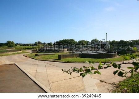 A sewage treatment and water treatment works in England showing the filter beds - stock photo
