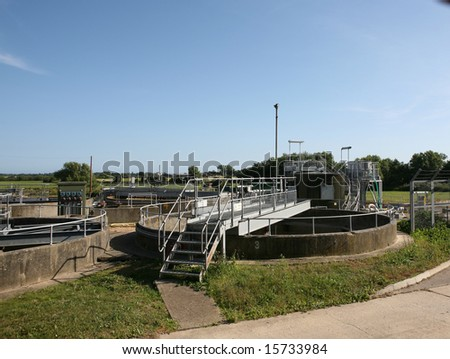 A sewage treatment plant in Sussex England - stock photo