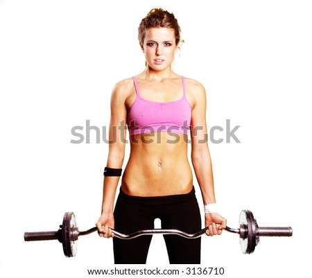 a sexy girl is doing exercise with weights - stock photo