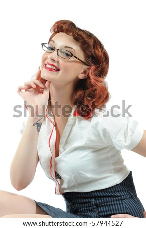 A sexy librarian pin-up girl. - stock photo
