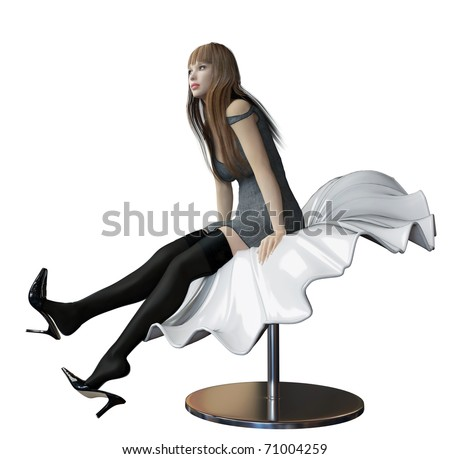 A sexy white woman, whit black high heels shoes, short skirt or robe and long hair, sitting in a futuristic plastic flowing sheet bench or chair, isolated against a white background. - stock photo