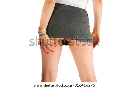 A sexy woman with a short skirt - stock photo