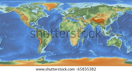 A shaded relief world map with hypsometric tints showing land elevation and bathymetry derived from public domain raw height data provided by NASA. The underlying data was recorded in 2000. - stock photo