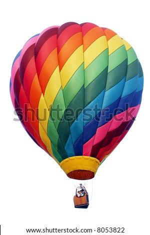 A shadowless & evenly illuminated, colorful hot air balloon. The perfect accent guaranteed to draw attention to your advertisement. - stock photo