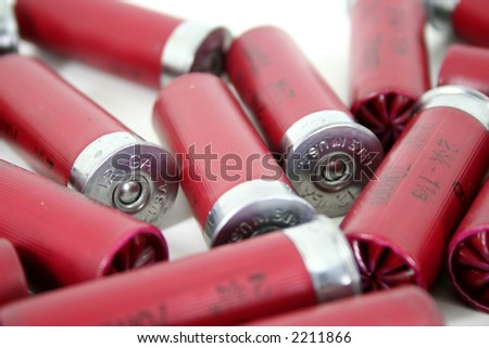 A shallow depth of field reveals that the shotgun shells are made in the united states of america. - stock photo