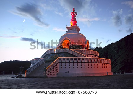A Shanti Stupa in night time. Leh, Ladakh, India