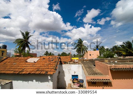 A shanty town in in Bangalore, India - stock photo
