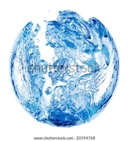A shape formed due to a bubble trapped in blue water, isolated on a white background. - stock photo