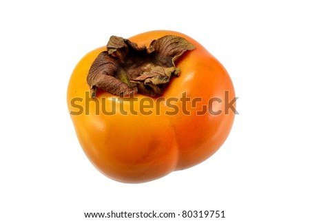 A sharon persimmon fruit on a white background