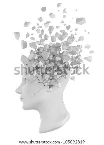 a shattered human head model from the side view. - stock photo