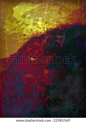 A sheet of distressed metal, illuminated with a grunge design, suitable as a background texture. - stock photo