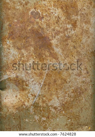 A sheet of rusted & scratched metal, suitable as a background texture. - stock photo
