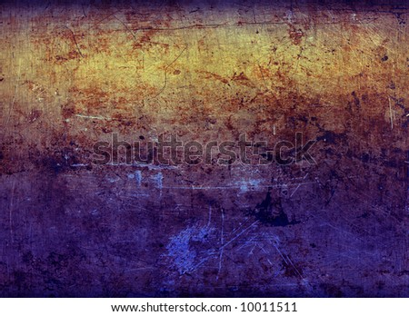 A sheet of rusted, stained & scratched metal lit with bright colors, suitable as a background texture. - stock photo