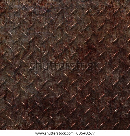 a sheet of rusty old diamond plate metal. Nice abstract background - stock photo