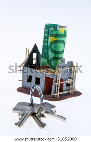 A shell house. Financing of euro banknotes - stock photo