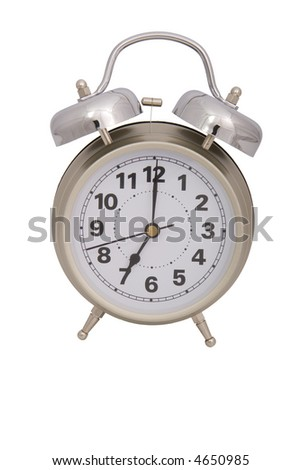 a shiny alarm clock over a white background