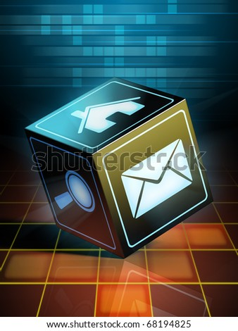 A shiny black cube with internet related icons on its faces. Digital illustration. - stock photo