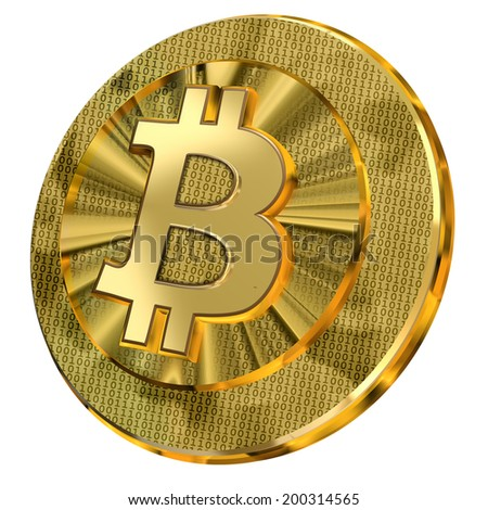 A shiny golden bitcoin illustration with binary code design representing the virtual currency.  - stock photo