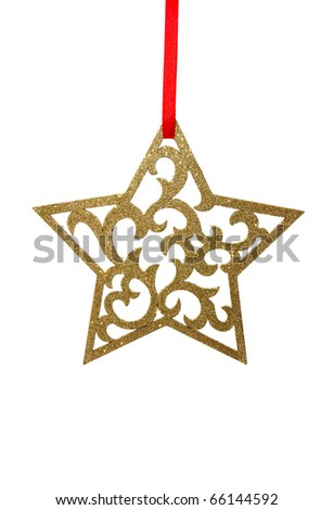 a shiny golden christmas star isolated on white background - stock photo