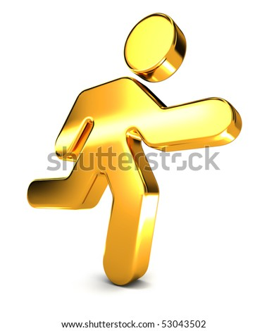 A shiny golden running man icon illustrating a businness concept. - stock photo