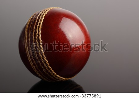 A shiny new cricket ball on a dark graduated background. - stock photo