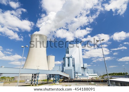 A shiny new lignite power station with beautiful blue sky