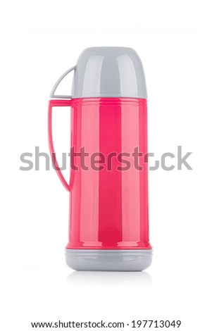 A Shiny Pink Thermos Isolated on White Background - stock photo
