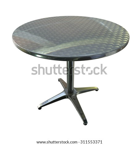a Shiny planar chrome round table with four legs on white background