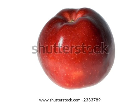 A shiny red apple against a plain white background