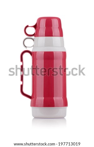 A Shiny Red Thermos Isolated on White Background - stock photo