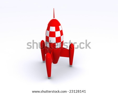 a shiny red toy rocket