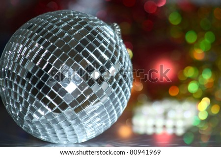 A shiny silver disco ball - stock photo
