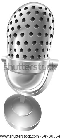 A shiny silver steel metallic old style retro microphone illustration with dynamic perspective. Can be used as an icon or illustration in its own right. - stock photo