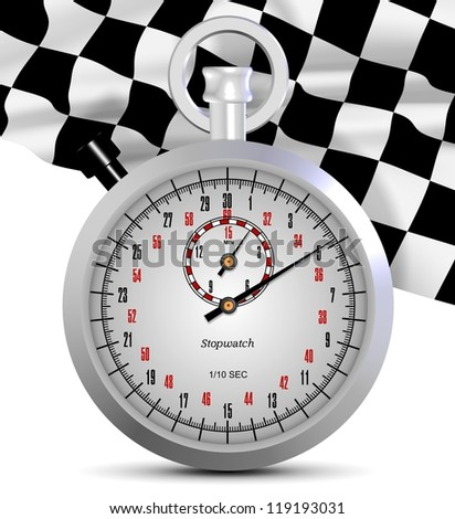 A shiny white stopwatch and finish flag in the background / Stopwatch and finish flag