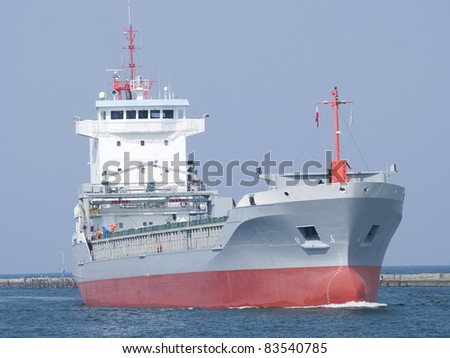 A ship on his way to a new port of call - stock photo