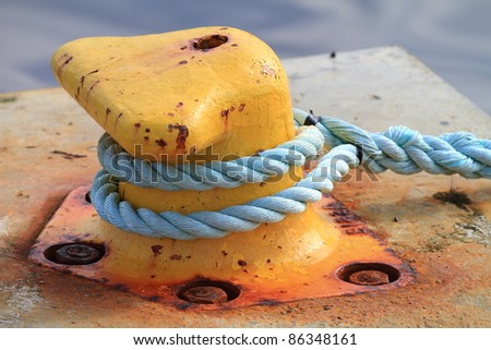 A ship rope. Safety. - stock photo