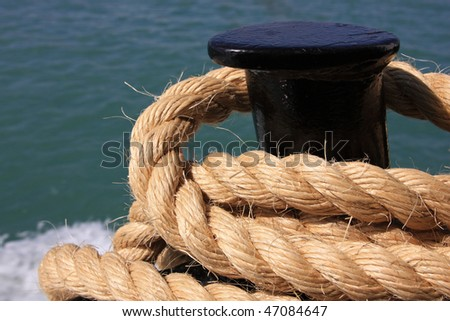 A ship rope. Safety concept.
