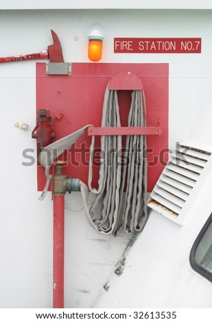 A ship's fire station from a large ferry. - stock photo