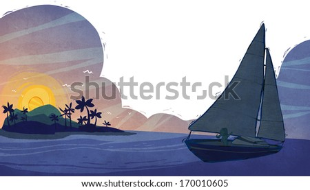 A ship sailing with an island and a sunset in the background. - stock photo